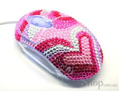 Pink Heart Crystal USB Optical Computer Mouse for any Notebook, Laptop or Desktop PC. Decorated in Rhinestone.
