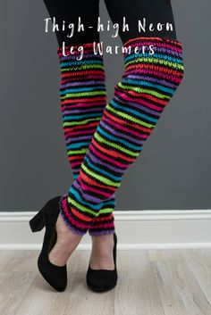 These leg warmers are a colorful addition to a witch Halloween costume! Or knit them in any color to stay warm any day of the year. Pattern included in four sizes for child and adult.