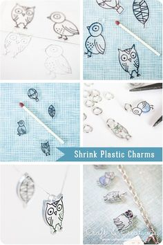 Shrink plastic charms made from cute animal drawings | Craft & Creativity – DIY