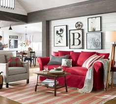 Red Couch In Living Room Wall Colors Bold Couches What A Statement Redcouch Statementcolor Painted Type Letter Framed Prints Redliving Sofaliving