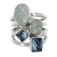 Sterling Silver Aquamarine Blue Cubic Zirconia Four Row Ring by Lilly Barrack