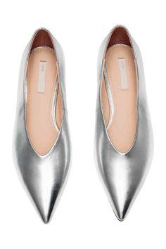 Кожаные балетки - Серебристый - Женщины   H&M RU