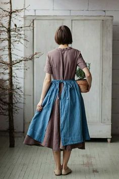 Gift For Mother Linen Apron Blue Apron Romantic Apron Zip Zip, Techniques Couture, Linen Apron, Mori Girl, Mode Vintage, Madame, What To Wear, Style Me, Street Style