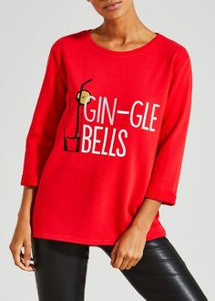 Raise a glass to the festive season and really get into the spirit of things with this novel Christmas sweatshirt. This jolly red sweatshirt features...