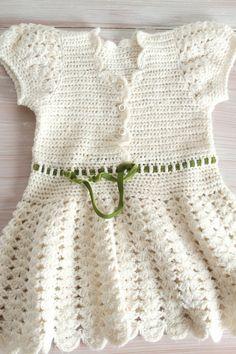 Little Crochet Dress in Antique White for Girl or Toddler, Baby Boho