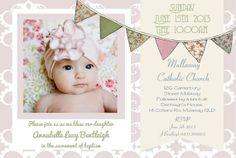 Baby girl birth announcement baptism birthday invitation card bunting floral pastels diy printable photo