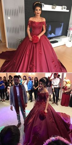 Burgundy Satin Off The Shoulder Wedding Dresses Ball Gowns With Lace Flowers by ainiprom, $194.06 USD