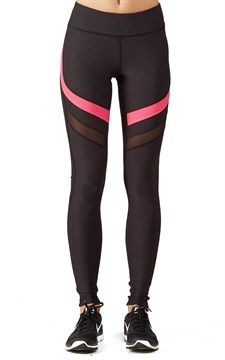 Performance Legging W Power Mesh Pink Sunset Black
