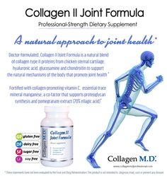 Collagen II Joint Formula by Collagen M.D.® is a professional dietary supplement is formulated with Collagen Type II Protein and a source of 18 amino acids,a natural blend of hyaluronic acid, chondroitin, glucosamine, pomegranate extract, standardized to 70% ellagic acid, vitamin C and trace mineral, manganese to support the natural mechanisms of the body that promote joint and cartilage health* Made in the USA under strict cGMP guidelines. #yoga #jointhealth