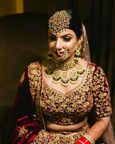 [New] The 10 Best Photography Today (with Pictures) Indian Bridal Jewelry Sets, Indian Bridal Fashion, Indian Bridal Wear, Bridal Jewellery, Bridal Makup, Bridal Makeup Looks, Indian Wedding Bride, Indian Wedding Outfits, Indian Weddings