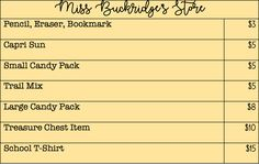 Chart for classroom store & how students can spend Buckridge Bucks.