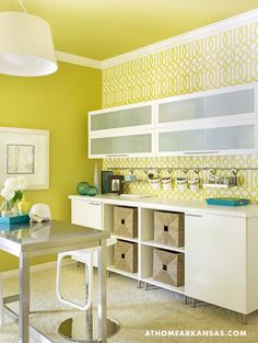 No No No! I don't like yellow or the modern sleekness of this room. This would be a do over for me