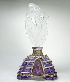 Purple Czech perfume bottle with glass, faux seed pearls and brass filigree ornamentation