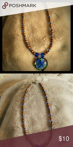Womens glass/bronze beads & crystal glass pendant Brand new and never been worn and handmade by me too makes a nice Christmas gift too Jewelry Necklaces