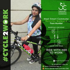 Meet Raseeka Gaikwad, a Quality Control Analyst from Just Dial Ltd. She cycles to work from her home in Kandivali to her office in Malad covering 6km. She says that cycling helps her save time, money, get a great workout and have a fresh start to her day. Before, cycling was just another fun activity, but now it has become her passion and she loves exploring new places on her cycle.   Join her & ride together.  If you cycle to work then email us on thesmartcommute@gmail.com