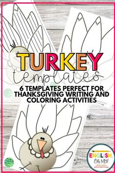 Needing turkey templates for your fun Thanksgiving craftivities? This set of 6 different templates can be used for coloring turkeys, or for turkey themed writing projects. #thanksgivingcrafts #turkeycrafts #turkeywriting