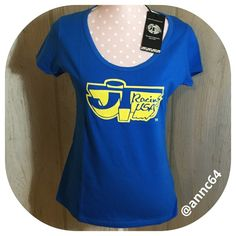 """jT Racing Tee Short sleeve 3D tee, blue with yellow graphics on the front and back at hem. Round neck line. 100% cotton Machine wash cold and hang dry. Bust 35"""" length 24"""". All measurements are approximate. Tops Tees - Short Sleeve"""