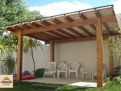 Pergola In Front Of Garage Backyard Pavilion, Backyard Patio Designs, Pergola Designs, Diy Patio, Backyard Landscaping, Outdoor Pergola, Pergola Plans, Pergola Kits, Privacy Fence Designs