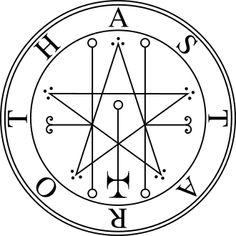 Astaroth is the Hebrew pluralized name of the Eastern Mediterranean Semitic goddess Astarte (ancient Greek, and later as Aphrodite), and Ishtar (Assyrian and Babylonian). The encircled star is one of Her symbols and is representative of the planet Venus. Occult Symbols, Magic Symbols, Occult Art, Wicca, Magick, Witchcraft, Tarot, Rose Croix, Nastassja Kinski