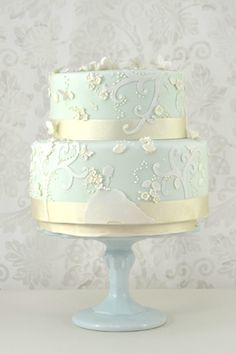 two tiered and baby blue wedding cake