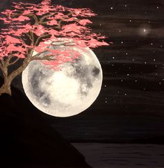 pink tree and moon