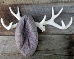Large Antler Wall Rack in Shabby Creamy White / Faux Taxidermy.