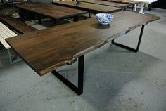 Rustic Live Edge Wood Dining Table with Steel by LorimerWorkshop