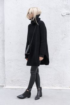 all black. crossbody bag. oversized knit turtleneck. leather leggings. booties. fall. autumn.