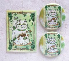 Lucky Neko Cat Who Likes Chablis White Wine ACEO Print w Mirror and Pin. $10.00, via Etsy.
