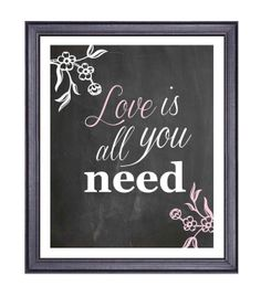 Chalkboard Art, Printable Love is All You Need, Pink and White Decor