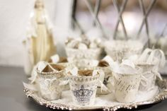 Shabby Sweet Cottage: Christmas Peat Pots. These would make cute nut cups if you line them.