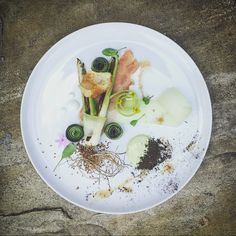Olive Oil Braised Baby Leek, Prosciutto, Chard and Pickled Cucumber, Goats Cheese Gel, Potato Chip, Cucumber and Leek Sauce