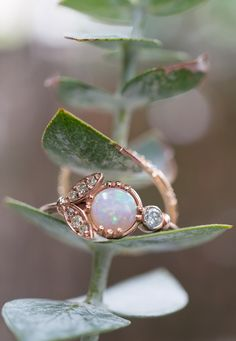 Opal and Vintage Diamonds set with Eucalyptus for a winter wedding