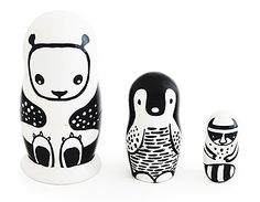 Wee Gallery | Nesting Dolls: Set of 3 Nesting Dolls - Black and White Animals