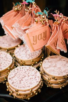Vintage romance at Carondelet House. Lace tambourines & 'YAY' signs for guests. Wedding Send Off, Wedding Exits, Wedding Favors, Wedding Decorations, Wedding Ceremony, Party Favors, Boho Wedding, Dream Wedding, Wedding Day