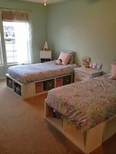 First Project - Twin Storage Beds Bedroom Storage, Diy Storage Bed, Daybed With Storage, Shared Rooms, Kids Furniture, Furniture Plans, Toddler Rooms, Girls Bedroom, Bedrooms
