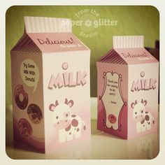 Printable Milk Carton Boxes by PAPER*GLITTER Do for playroom kitchen...attached onto cardboard.