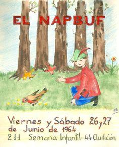 """Cartell il·lustrat per la bibliotecària Natàlia Hernàndez, per informar de l'hora del conte programada pels dies 27 i 28 de juny de 1964 en la biblioteca Pare Miquel d'Esplugues. El títol de la narració fou: """"El Napbuf"""""""