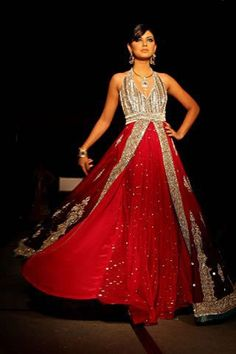 Outstanding Red Ramp Style Anarkali Dress buy it now at andaazcollectionscanada Pakistani Couture, Indian Couture, Pakistani Dresses, Indian Dresses, Indian Outfits, Pakistani Bridal, Desi Clothes, Indian Clothes, Indian Bridal Wear