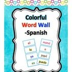 Kinder Latino has created Spanish word wall cards.    The words on these cards are in color so that they may stand out.  This also allows for Word Wa...