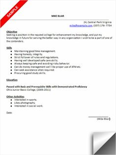 college admissions resume sample. Resume Example. Resume CV Cover Letter