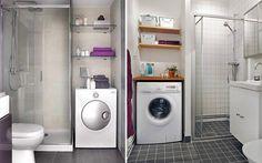 Distribución de lavadora y secadora en el baño para casas pequeñas. Stacked Washer Dryer, Washer And Dryer, Washing Machine, Laundry, New Homes, Home Appliances, Ideas Para, Blog, Santa