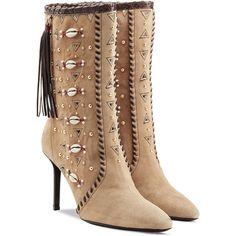Tamara Mellon Embellished Bohemia Suede Boots ($740) ❤ liked on Polyvore featuring shoes, boots, heels, scarpe, tamara mellon, camel, multicolored, bohemian boots, suede tassel boots and suede shoes