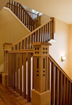 "arts and crafts stairs | familiar ""four squares"" motif repeats on the handsome staircase ..."