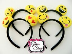 These Emoji Headbands are great for party favors, giveaways and more. This listing is for 4 headbands as pictured.  More Party Favors and Accessories can be found here: https://www.etsy.com/shop/GlamShopBeads?section_id=18564376&ref=shopsection_leftnav_8   Do you love Glam Shop Beads? Please mark us as a FAVORITE Etsy shop! Thank you for shopping with us, we appreciate every fan!  You can also find announcements, preview pictures and more on our Fan Page at w...