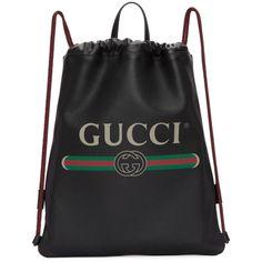 GUCCI Black Leather Drawstring Backpack.  gucci  bags  leather  backpacks    Mini d7ec52caa2c6
