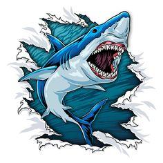 Some animal rip t shirt designs. Shark Tattoos, Funny Tattoos, Cartoon Wallpaper Hd, Galaxy Wallpaper, Great White Shark Drawing, Elephant Head Tattoo, Sea Creatures Drawing, Cool Sharks, Shark Art