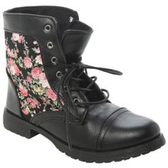 Black Floral Combat Boots | Hot Topic ($32) ❤ liked on Polyvore featuring shoes, boots, ankle booties, sapatos, cap toe boots, black booties, faux leather lace up boots, black combat booties and floral combat boots
