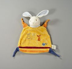 Doudou plat lapin velours jaune Baby Nat