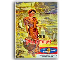 Giclee Print: See the Philippines - Pan American World Airways by Pacifica Island Art : Vintage Travel Posters, Vintage Postcards, Vintage Ads, Filipino Art, Filipino Culture, Philippines Culture, Philippines People, Philippines Travel, Philippine Art